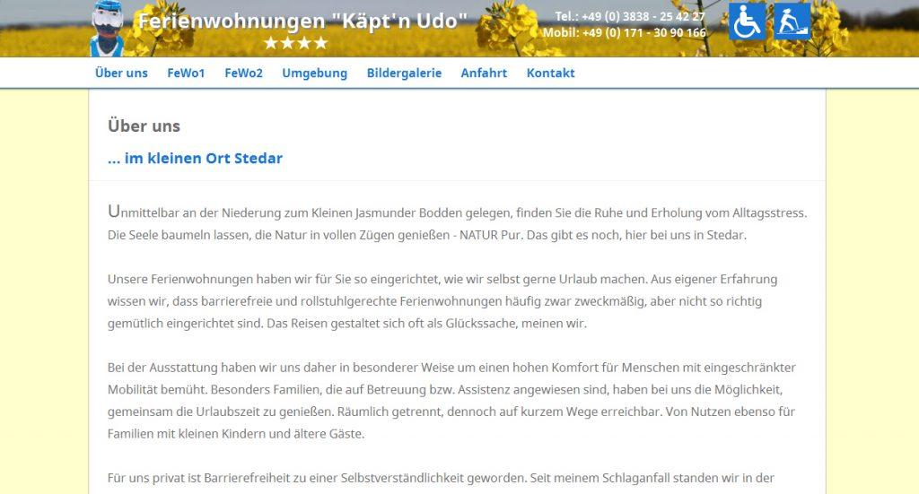 Rollstuhl Ferienwohnungen Kapt N Udo Buschwitz Barrierefrei