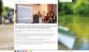 abgesagt - 9. Tag des barrierefreien Tourismus auf der ITB 6. März 2020 im CityCube Berlin @ CityCube Berlin   Berlin   Berlin   Deutschland